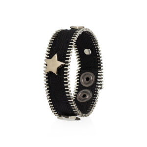 Bracciale Ziepper Star Nero ed Argento - Idee Regalo Natalizio - Zipper Dream