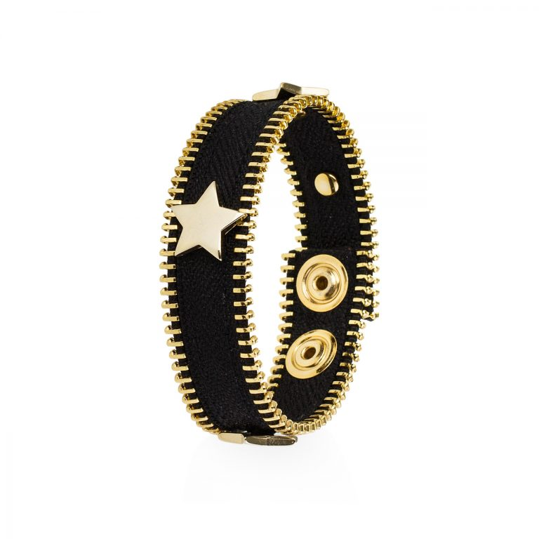 Bracciale Ziepper Star Nero ed Oro - Idee Regalo Natalizio - Zipper Dream