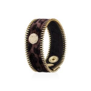 Zipper Glamour - Bracciali in tessuto maculato scuro