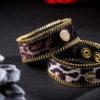 Zipper Glamour - Bracciali in tessuto maculato chiaro e scuro